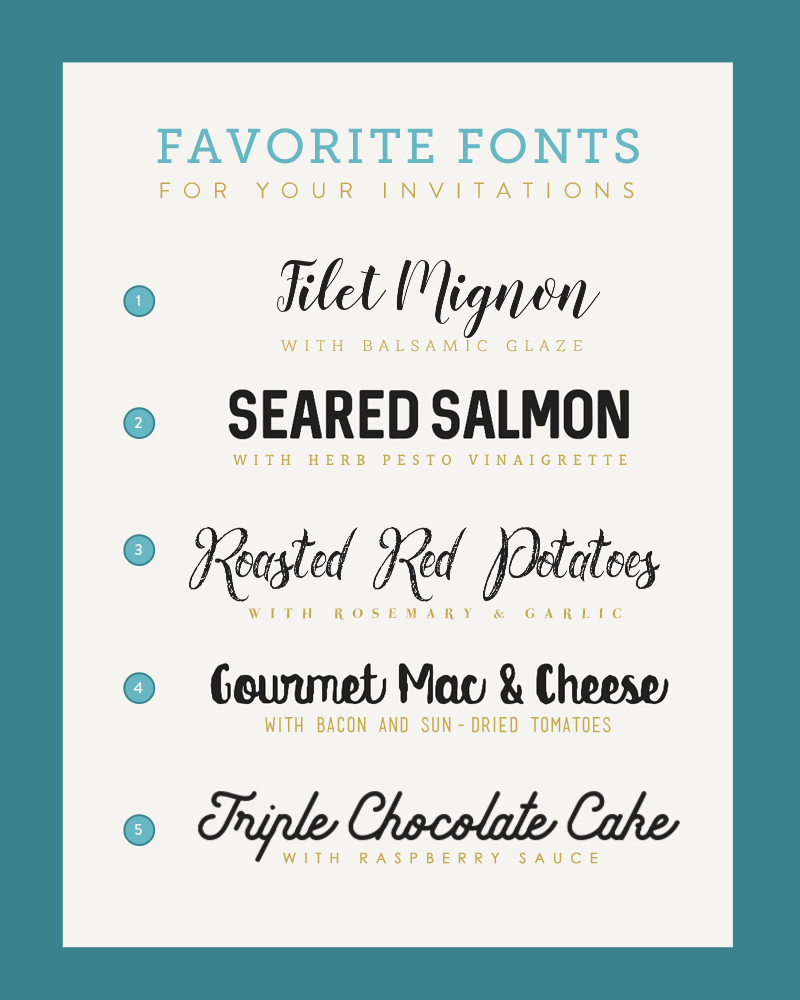 Font Pairings for Your Wedding Invitations and Menus for Budget Savvy Bride