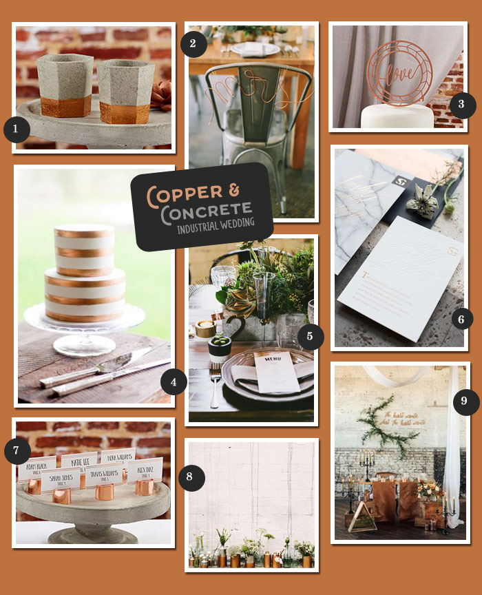 Copper and Concrete Industrial Wedding Ideas