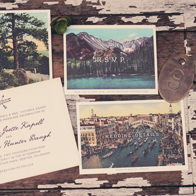 Vintage Inspired Postcard Wedding Invitations